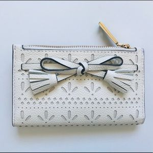 Kate Spade Hayes white Perf Compact Wallet